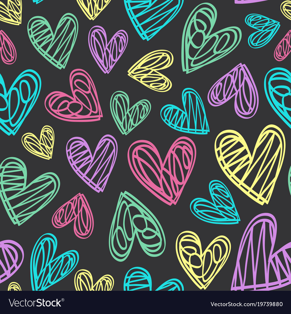 Seamless pattern with hearts on black background