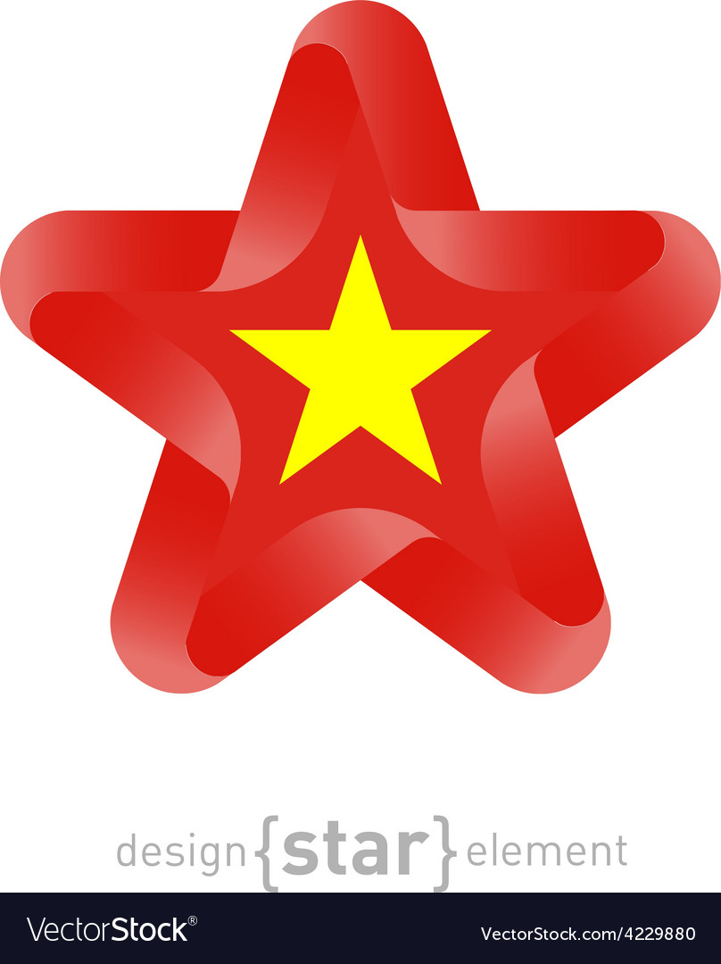Star With Vietnam Flag Colors And Symbols Vector Image
