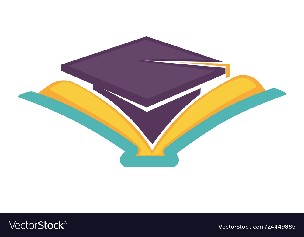 Academic hat and open book graduation symbol