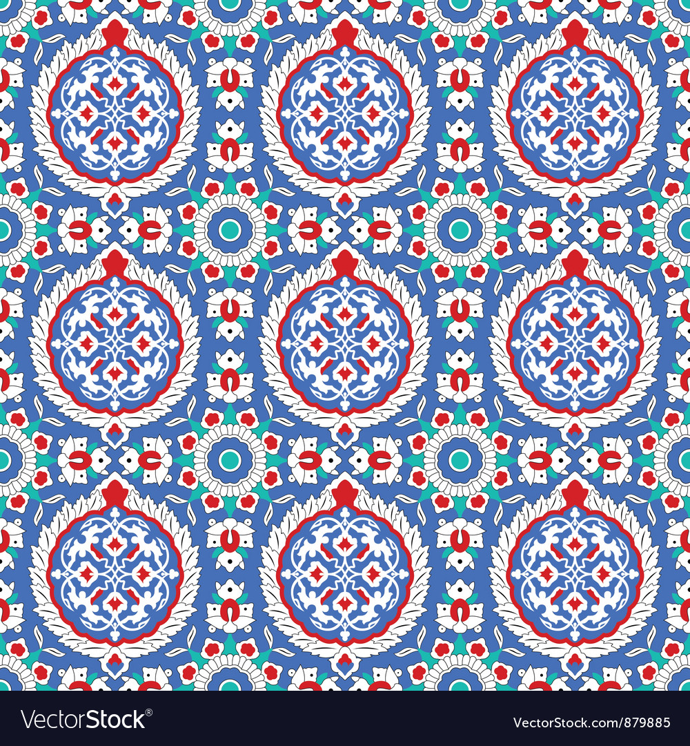Blue and red Islamic ornaments small