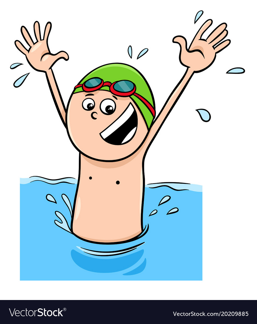 cartoon boy character swimming in the water vector image rh vectorstock com funny swimming cartoon images cartoon swimming images free