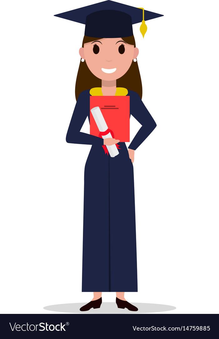 Cartoon student girl graduate