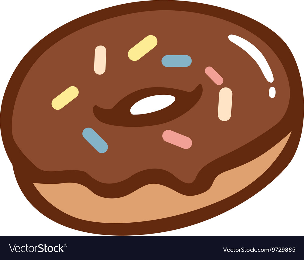 Chocolate Donut with Colourful Sprinkles vector image