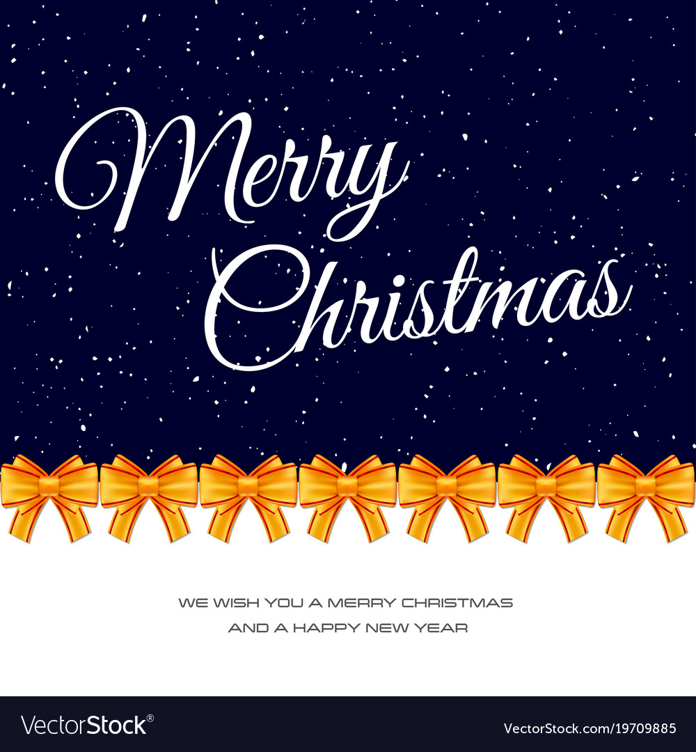 Christmas gift card with golden baw template for Vector Image