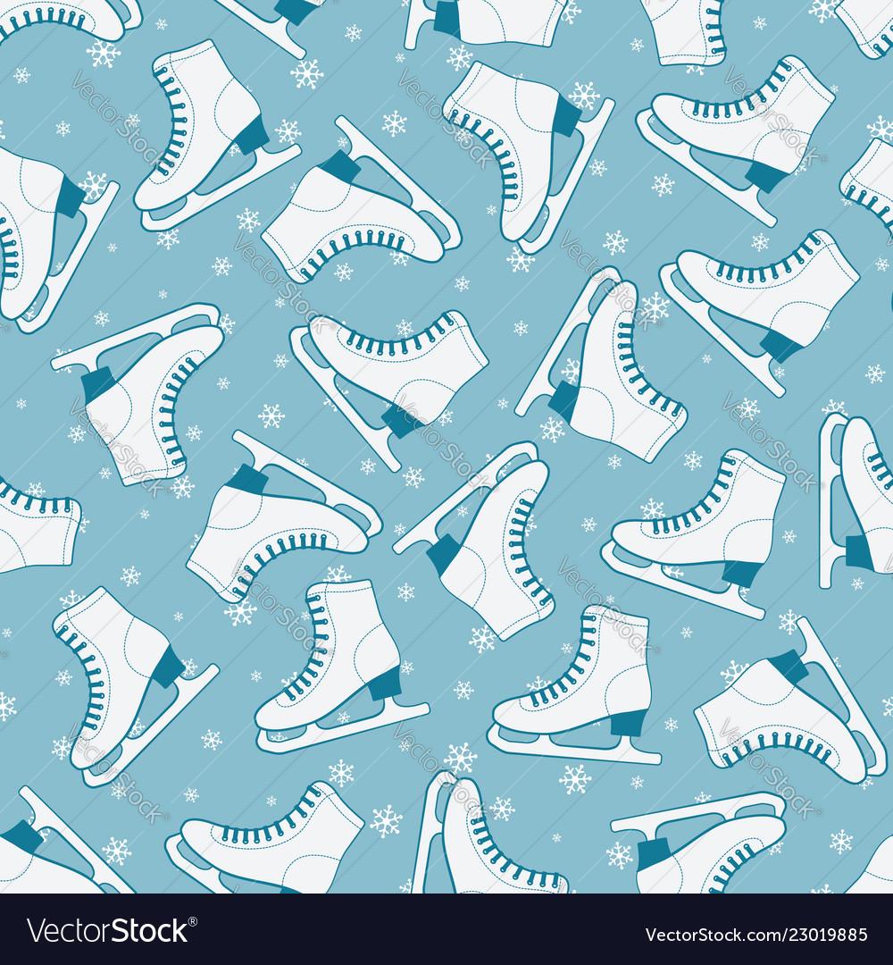 Figure skates seamless pattern