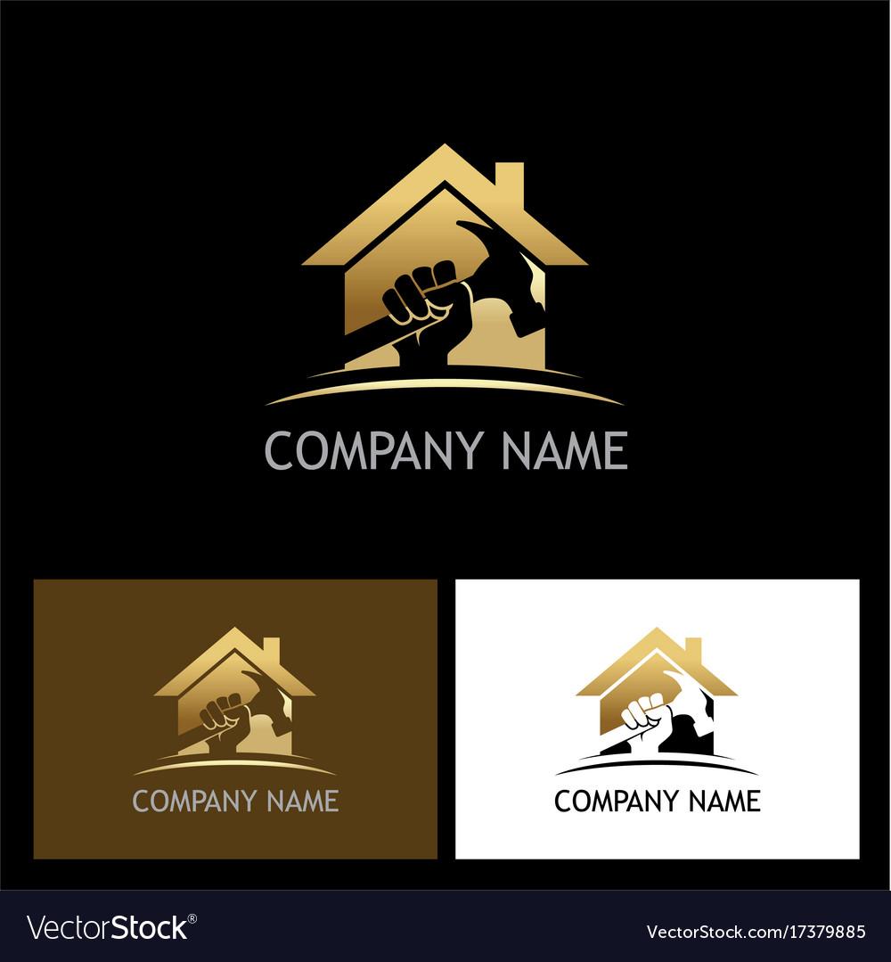 Home repair gold company logo vector image