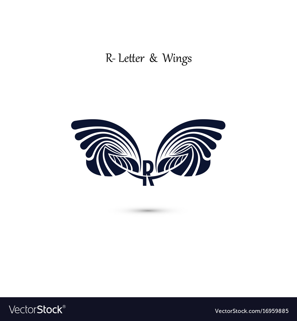 R letter sign and angel wings monogram wing logo