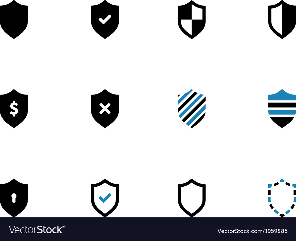 Shield duotone icons on white background
