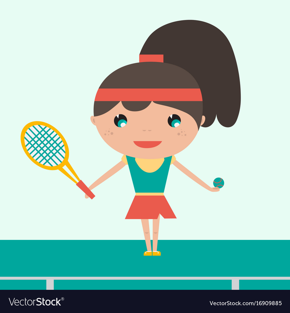Smiling sportswoman young tennis player holding