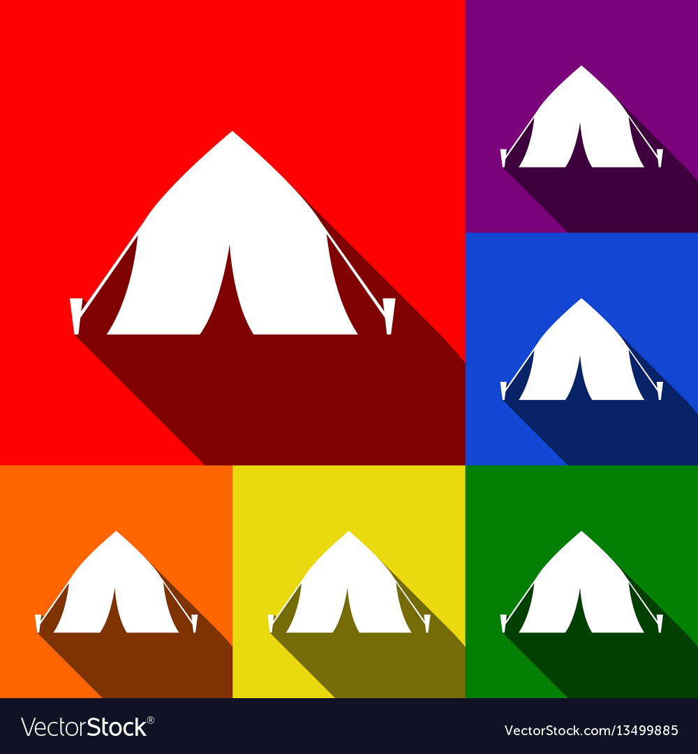 Tourist tent sign set of icons with flat