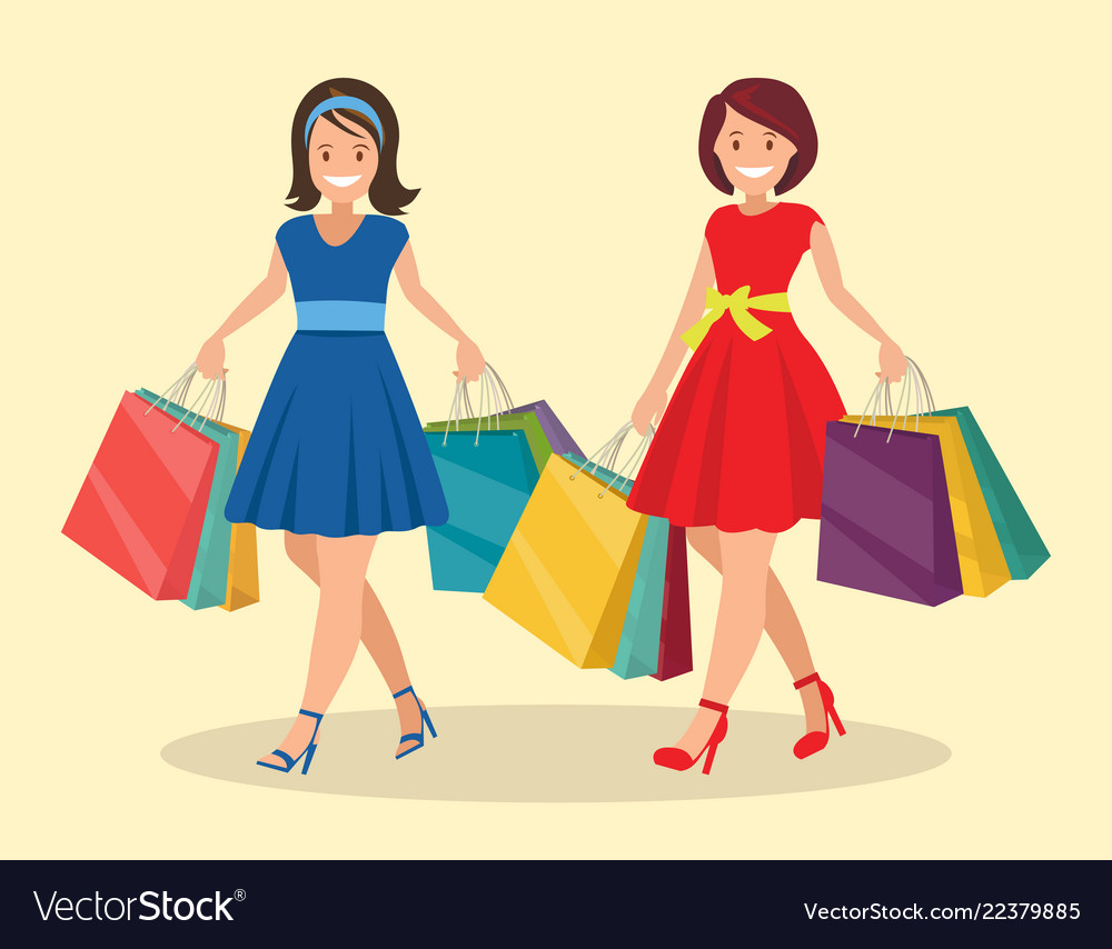337527a7d Two happy women go shopping big sale Royalty Free Vector