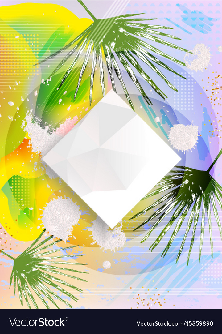 Abstract polygonal design with palm leaves