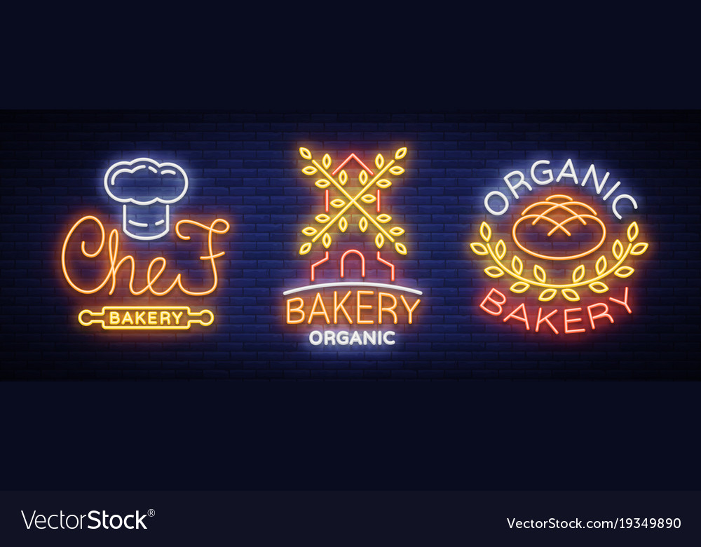 Bakery collection of logos in neon style