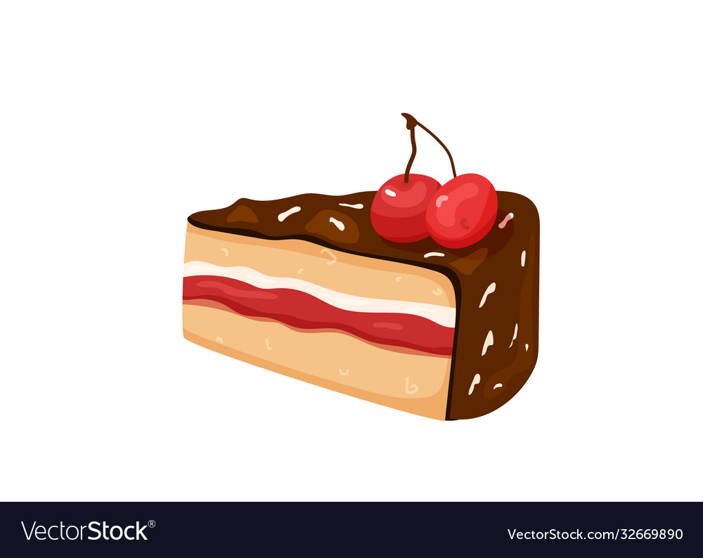 Delicious yummy cake with cherry chocolate cream