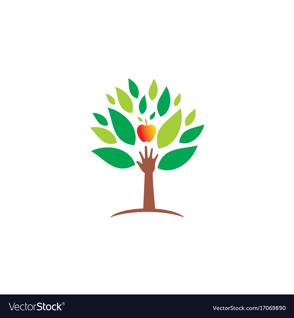 Ecology hand green tree fresh fruit logo vector image