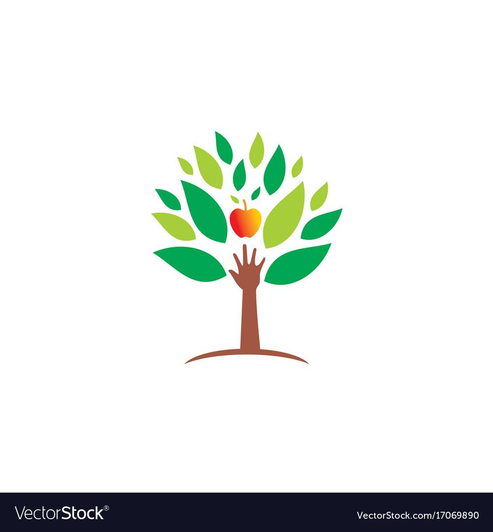 Ecology hand green tree fresh fruit logo