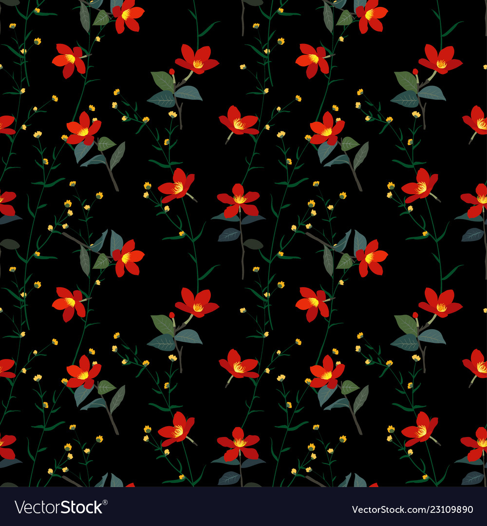 Garden botanical red flowers seamless pattern