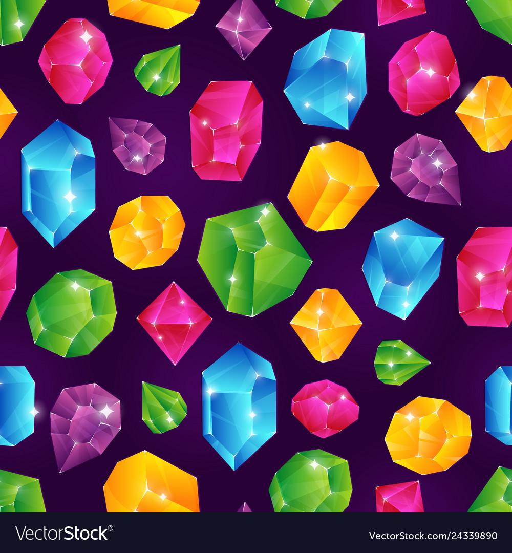 Gem seamless pattern colored diamonds jewels