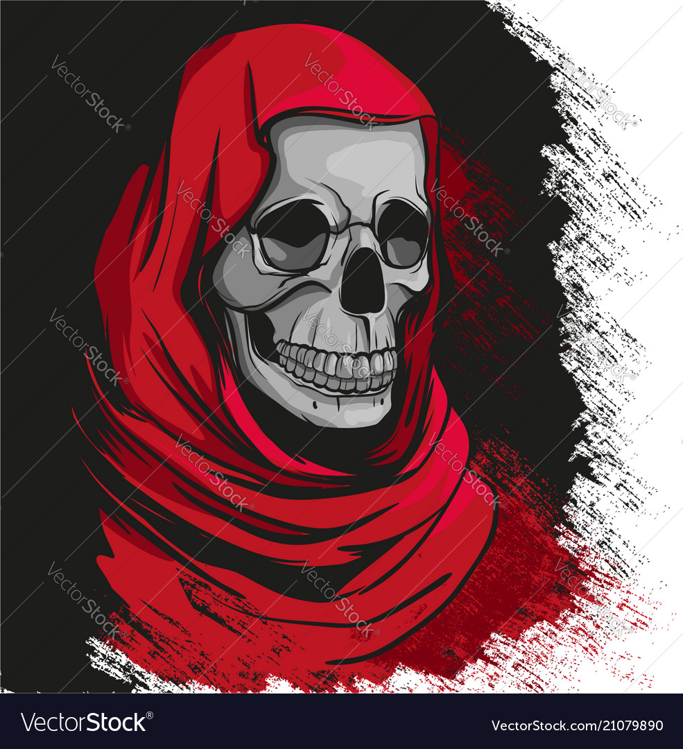Grim reaper in red robe portrait