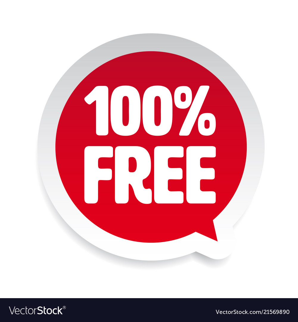 Hundred Percent Free Sticker Tag Royalty Free Vector Image