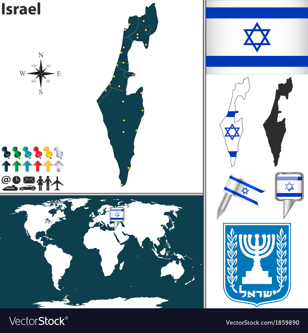 Israel map world Royalty Free Vector Image - VectorStock