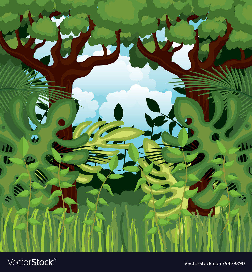 Jungle landscape background isolated icon design
