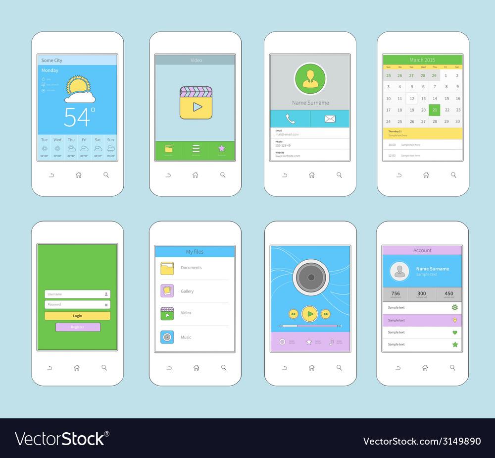Mobile ui design flat line