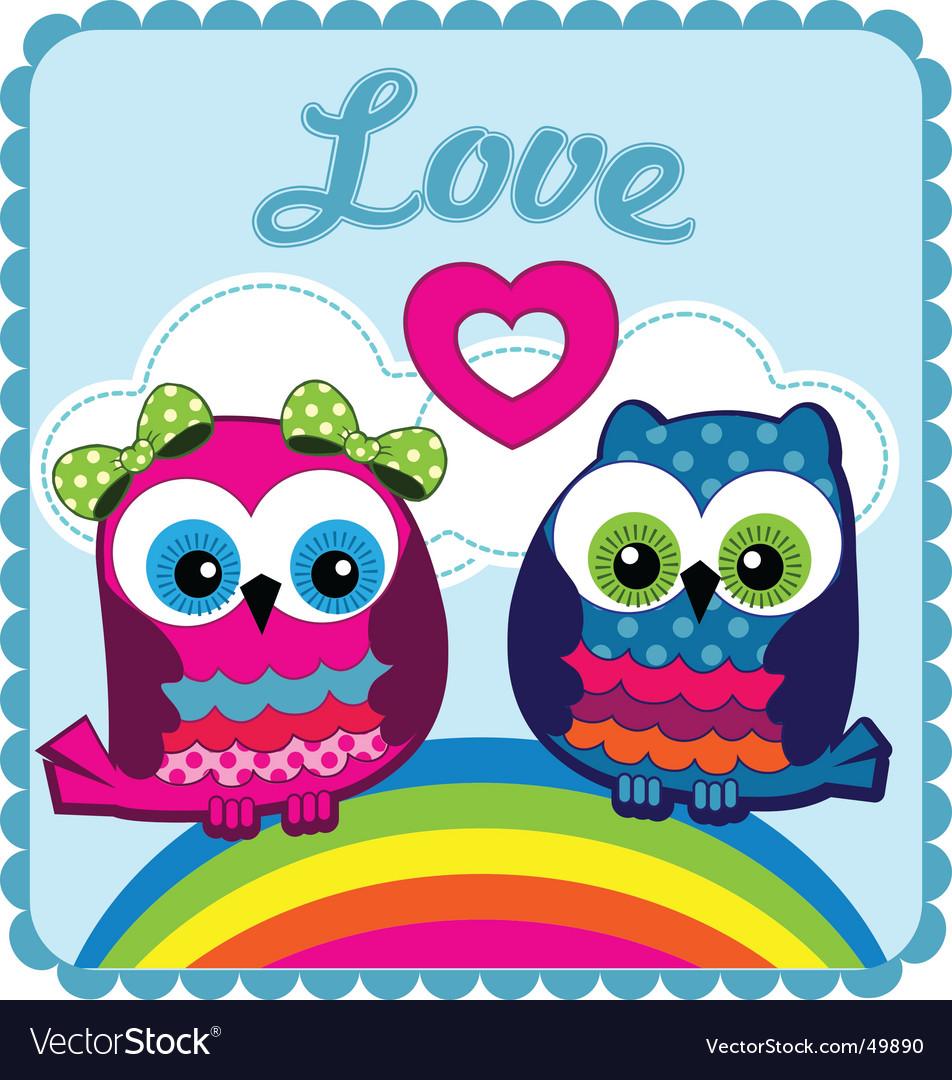 Owls In Love. Owls In Love Vector