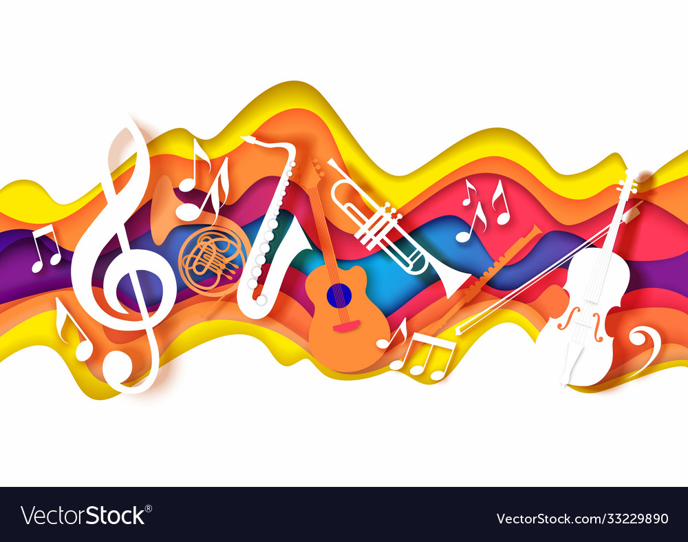 Paper cut craft style music composition