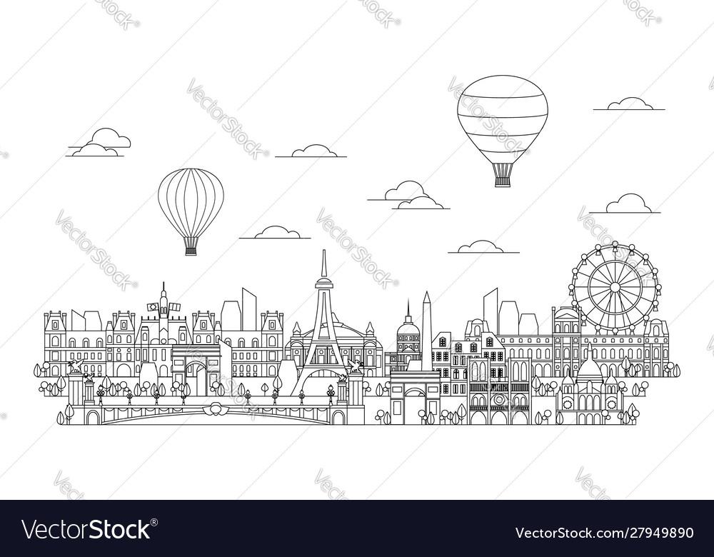 Paris skyline line art 4