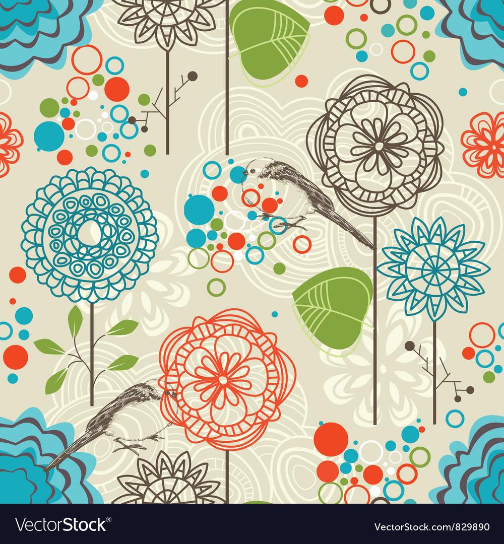 Retro garden seamless pattern