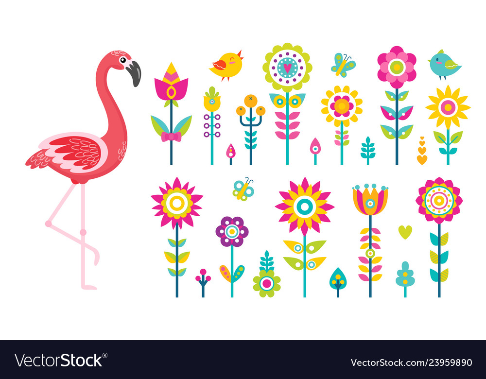Summer objects or elements flamingo and flowers