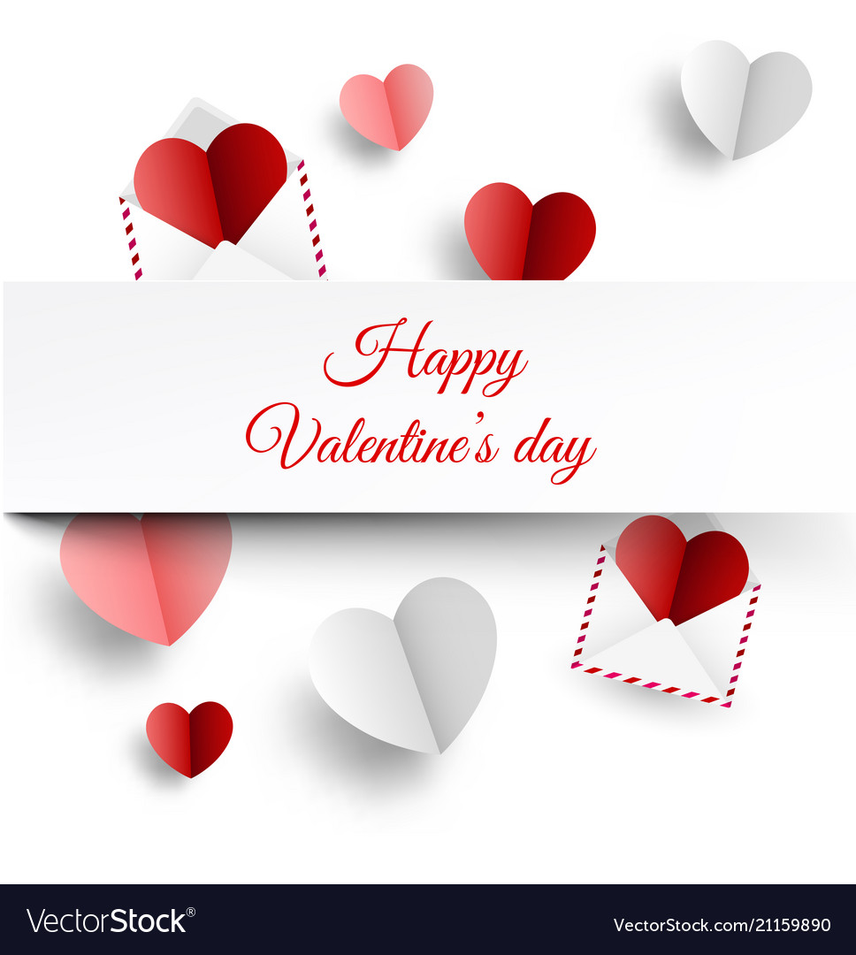 Valentine s card with paper letters and hearts