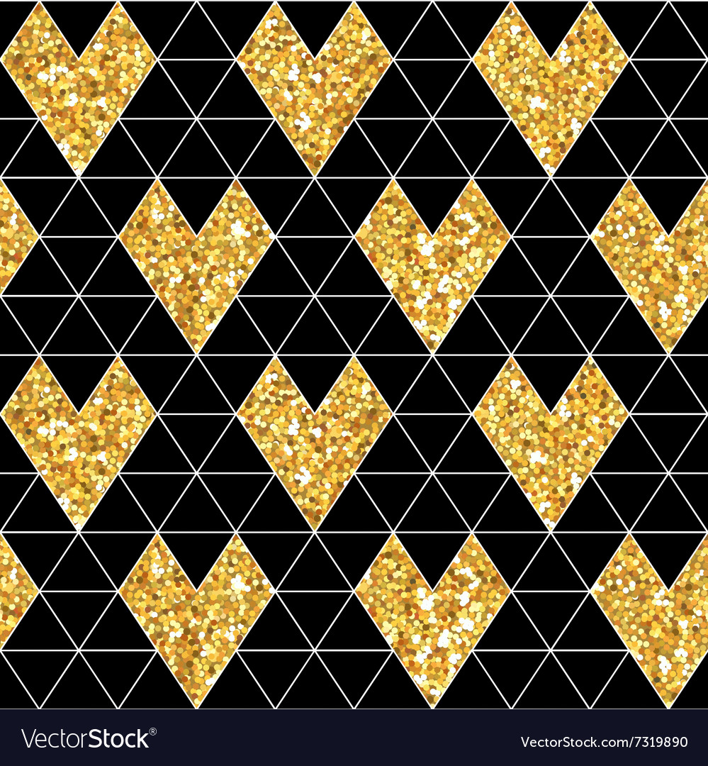 Valentines Day Glitter Gold Seamless Pattern vector image