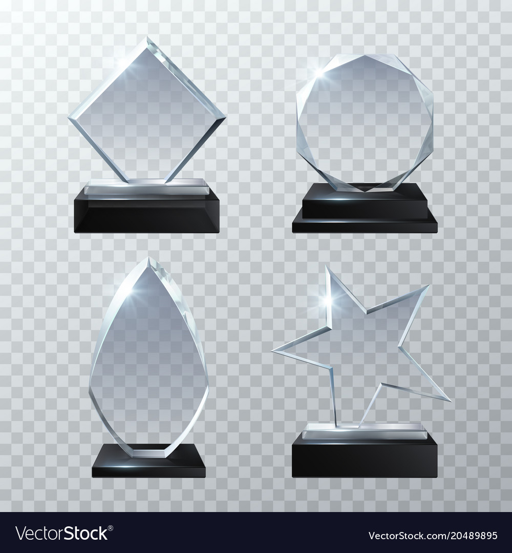 Clear glass trophy awards isolated on transparent