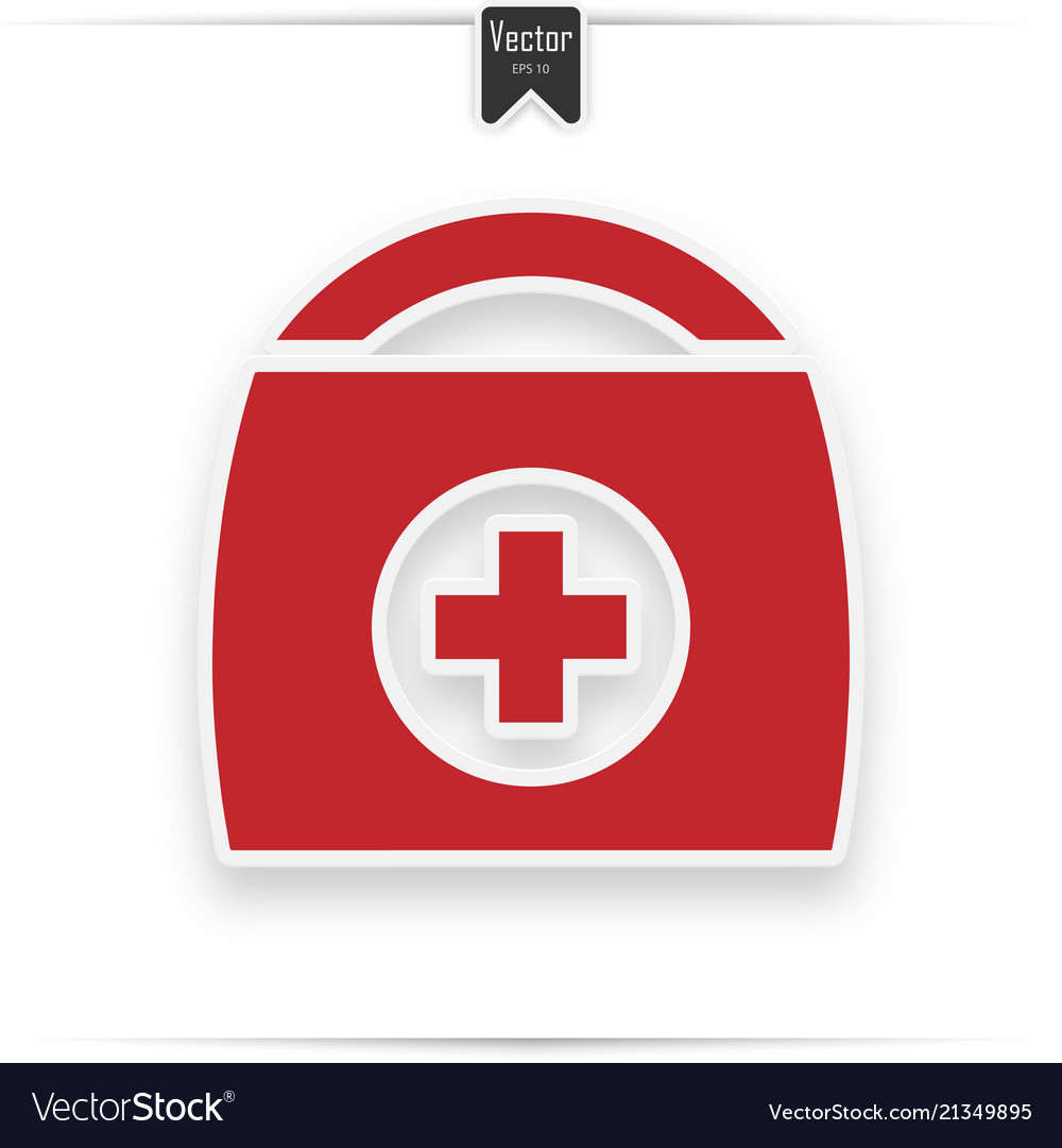 First aid kit medical help icon in red and