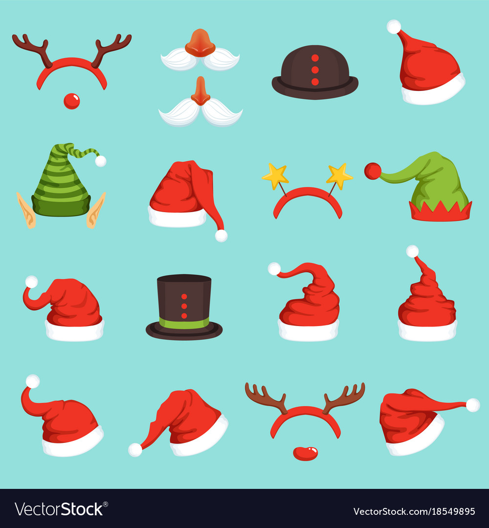 Hats of different christmas characters cap of