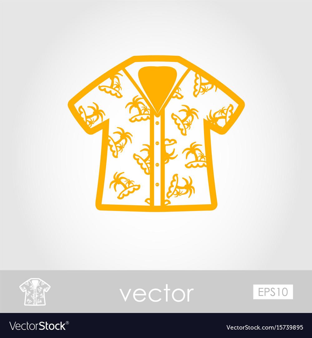 Hawaiian shirt palm tree icon summer vacation vector image