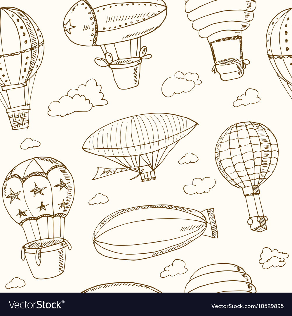 Hot Air Balloons doodle seamless pattern Vintage