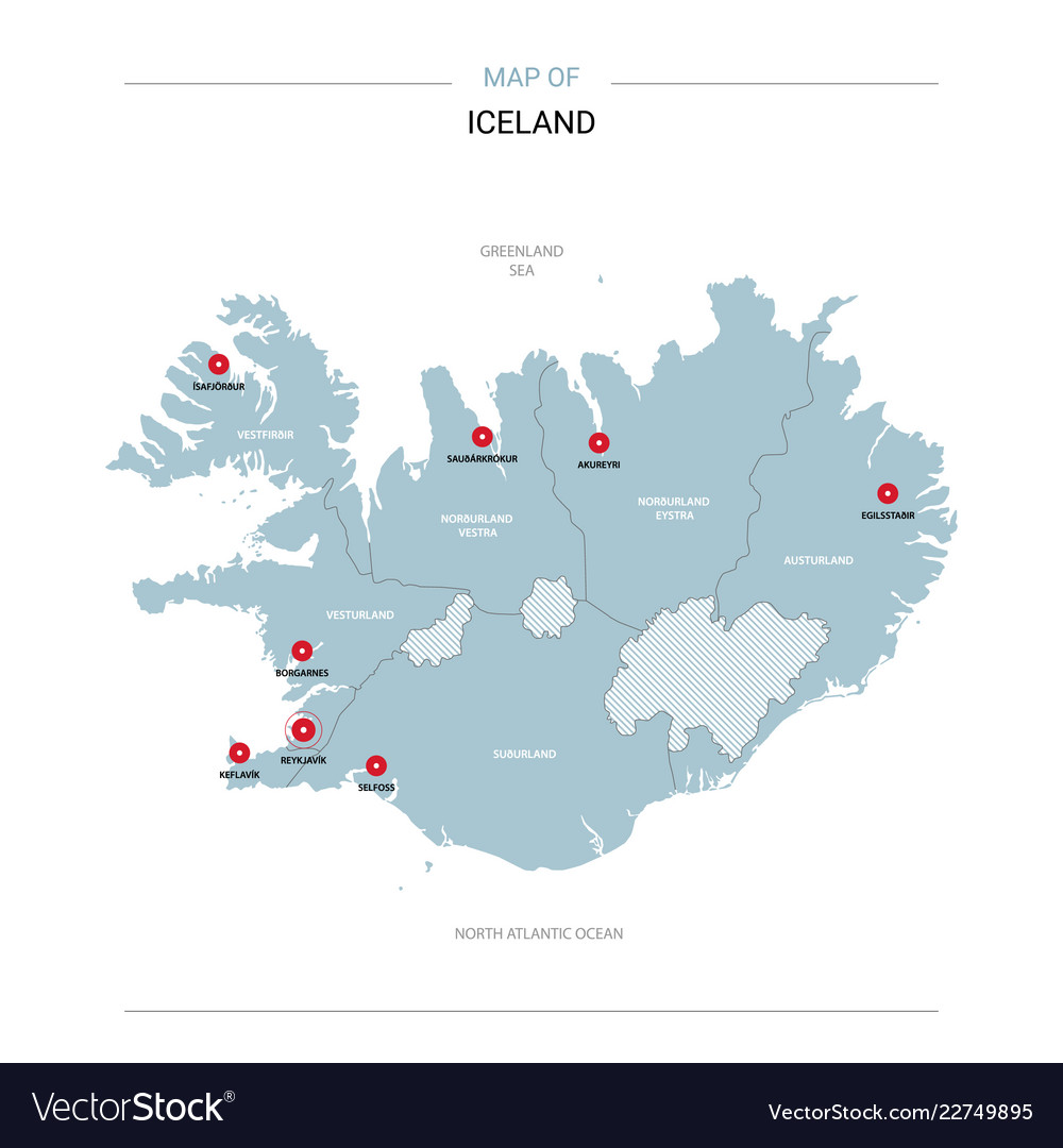 Iceland map with red pin Royalty Free Vector Image