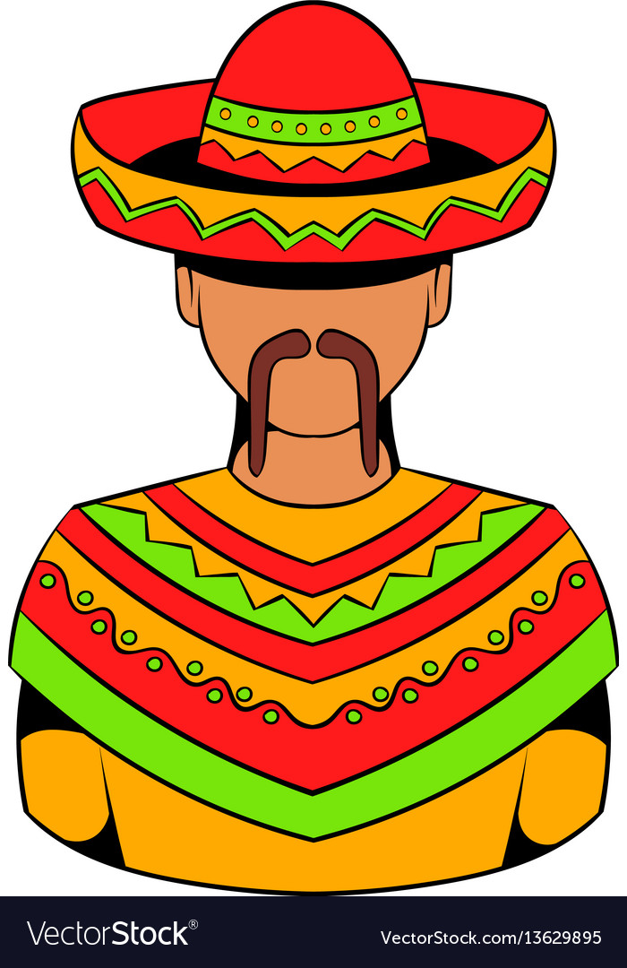 Mexican man icon cartoon