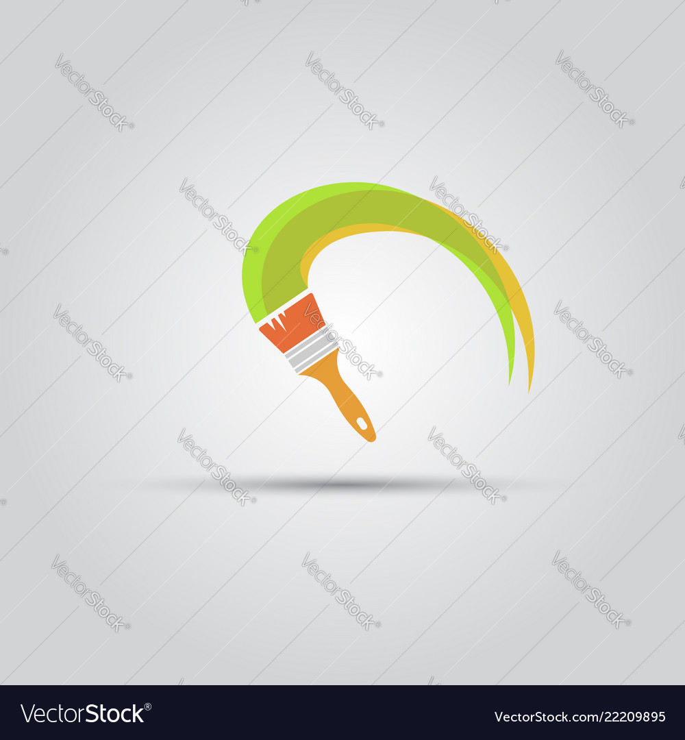 Paint brush and paint stripe isolated icon