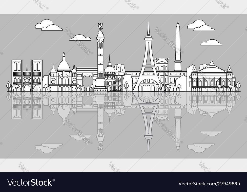 Paris skyline line art 5