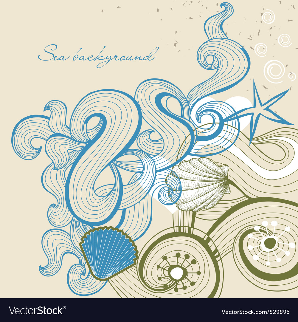 Sea and beach background vector image