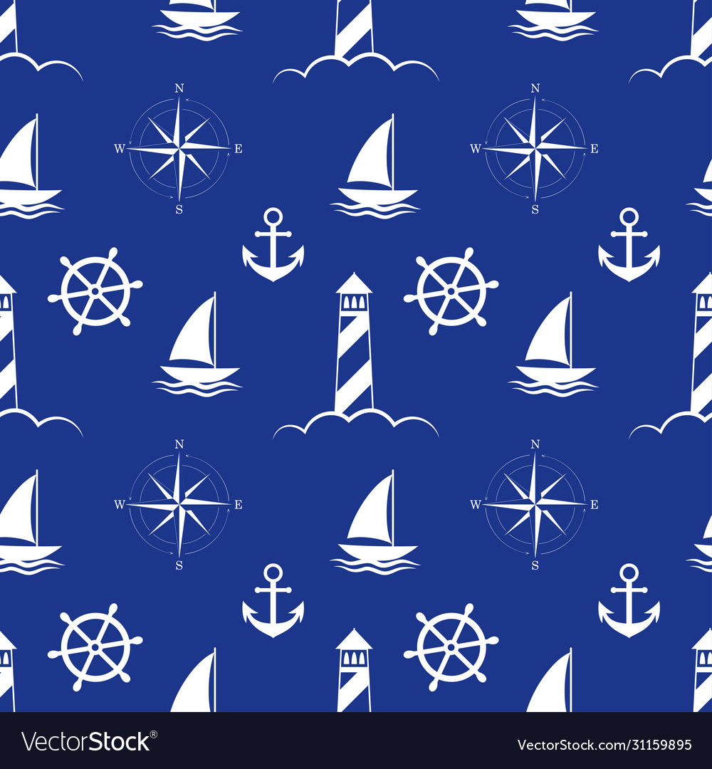 Sea and nautical seamless pattern on blue