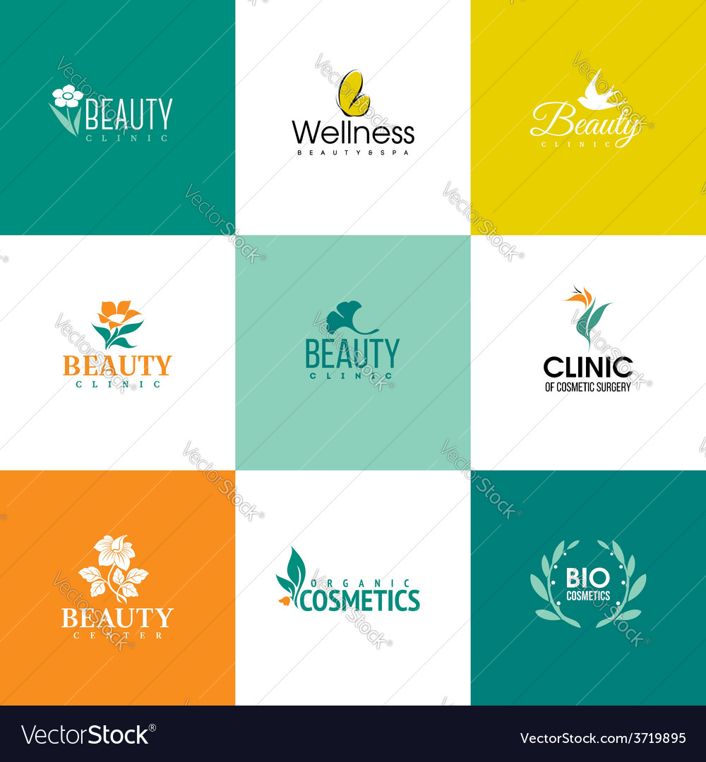 Set of beauty and flowers logo templates