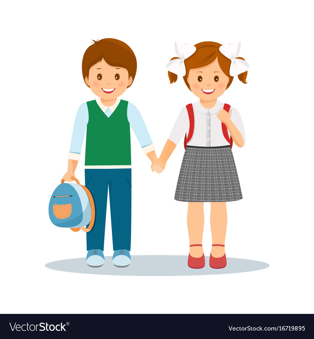 Shcoolchildren- boy and girl vector image