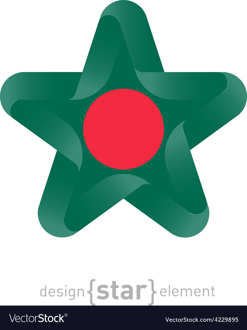 Star with Macau flag colors and symbols