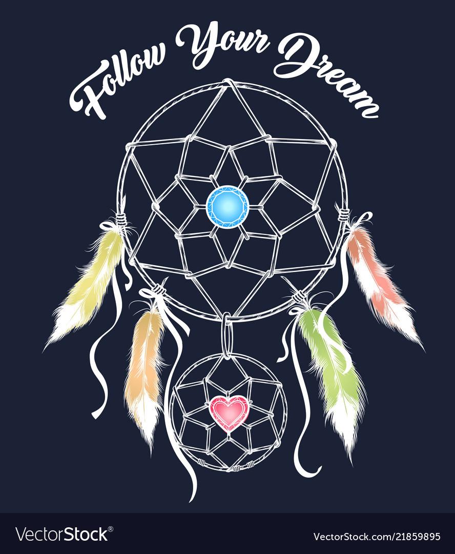 The dream catcher colorful emblem