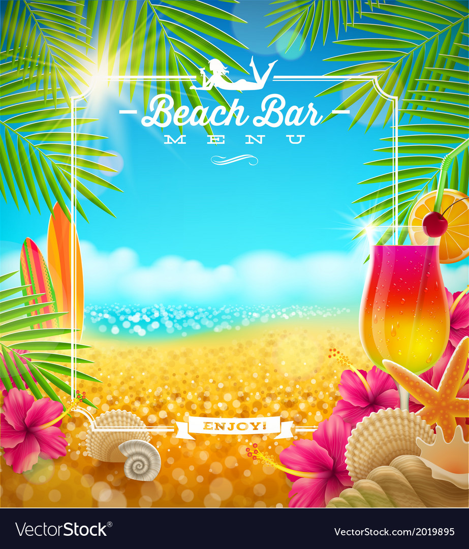Tropical summer vacation Beach bar menu design vector image